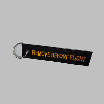 Remove Before Flight Embroidered Canvas HU Woven Luggage CA Tag Label Key chain