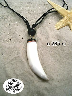BRAND NEW TOOTH SHAPE MUSSEL SHELL NECKLACE SURFER SKATER BLACK CORD / n285vi