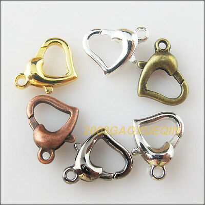 10 New Connectors Heart Lobster Clasps Gold Bronze Dull Silver Plated 12x14mm