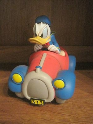 Extremely Rare! Walt Disney Donald Duck in Red/Blue Car Polyresin Statue