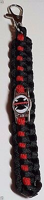 Fallen Firefighter Black Maltese Cross with Thin Red Line Paracord Key Chain