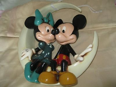 Walt Disney Mickey and Minnie Mouse Sitting on the Moon Big Statue