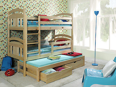 3 Sleeper Bunk Beds Triple Pine Wooden Kids Childrens  Mattresses & Storage
