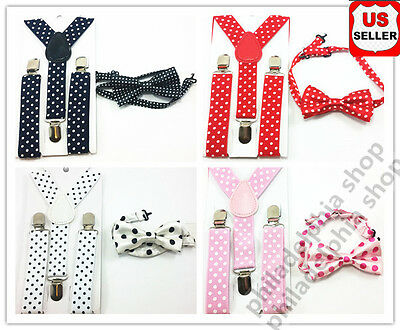 Kids Formal Wear Accessories Matching Polka Dots Sky Blue Bow Tie and Suspenders