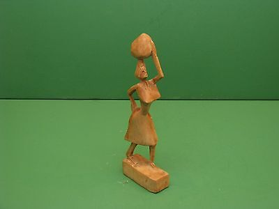 Hand Carved hard Wood African Tribal Art Statue figure woman carrying bundle
