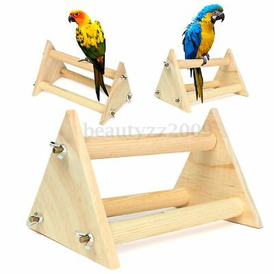 Wooden Parrot Standing Perch Bird Cage Stand Toy For Parakeet Budgie Cockatiels