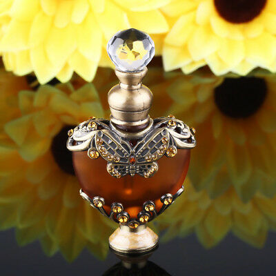 Butterfly Vintage Empty Metal Glass Jeweled Perfume Bottle Stopper Lady Gift