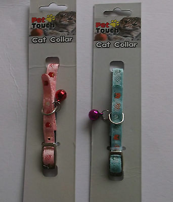 Pet Touch Pet Cat Kitten Collar With Bell Pink Or Blue