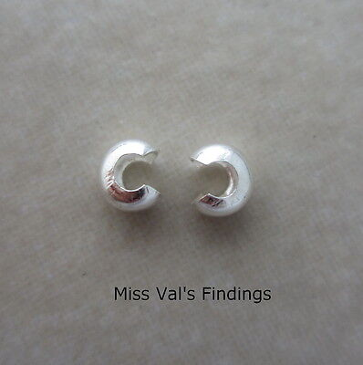 10 sterling silver jewelry crimp bead cover 4mm