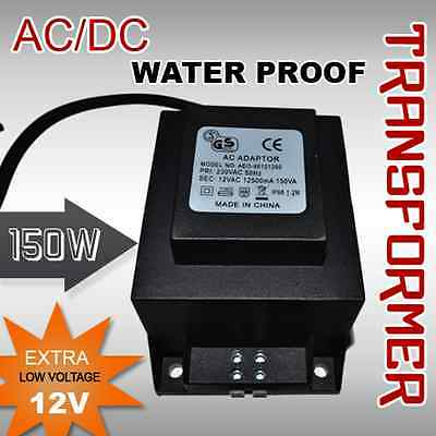 12 Volt 150 Watts AC Transformer Water Proof LED Lights Electrical Appliances