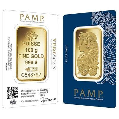 100 gram Gold Bar PAMP Suisse Lady Fortuna Veriscan .9999 Fine (In Assay)