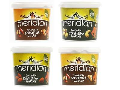Meridian 1KG Peanut Butter, Cashew, Almond - Smooth Crunchy & Organic