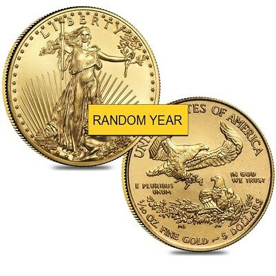 Lot of 2 - 1/10 oz Gold American Eagle $5 Coin BU (Random Year)