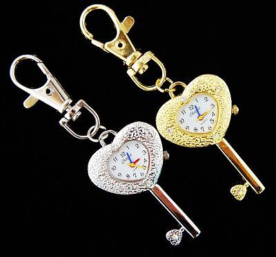 Wholesale 10 pcs key Hear Style Key Ring pocket Watches women girls gifts USF17