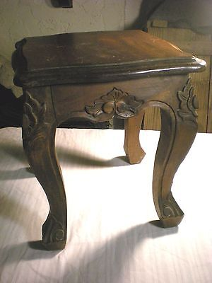 "Antique Vintage Miniature Brown Table Hand Made Carved 12.5"" Tall"