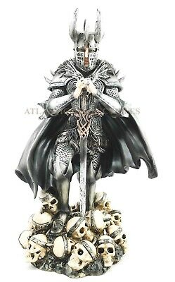 NEW Victorious Medieval Knight with Sword on Heaps of Skulls Skeleton Figurine