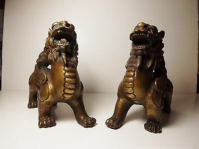 Pair Of Old Chinese Bronze Feng Shui Pi Yao Pixiu Kylin Statue