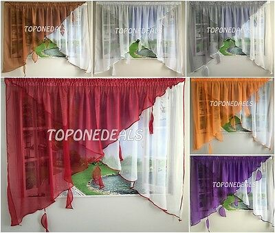Amazing Voile Net Curtain with Colours Leaves Ready Made Modern Design New