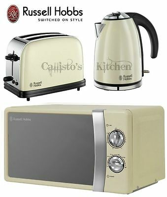 Kettle and Toaster Set + Microwave Russell Hobbs Colours & Cream Microwave New