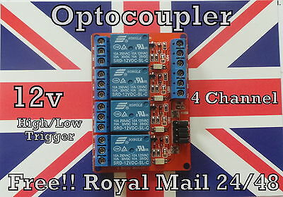 12V 4 Channel Relay Module with Optocoupler Isolation High and Low Trigger UK