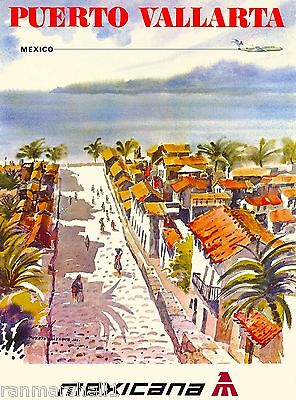 Puerto Vallarta Mexico Beach by Air Mexican Travel Advertisement Art Poster