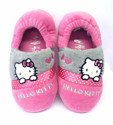 Girls Persian Hello Kitty Pink Indoor House Slippers Shoes Elasticated Back