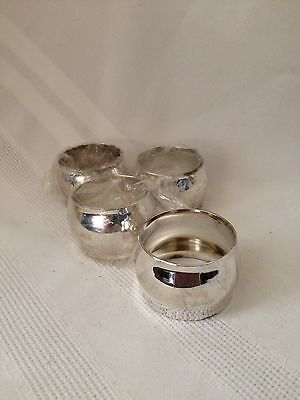 Napkin Rings Silverplate Set of 4 Round