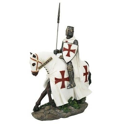 Medieval Crusader English Phalanx Spear Knight On Cavalry Horse Figurine Statue