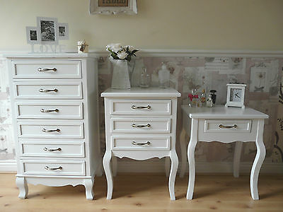 Petite Beau Shabby Chic French Vintage Style Bedroom Bedside Tables Cabinets