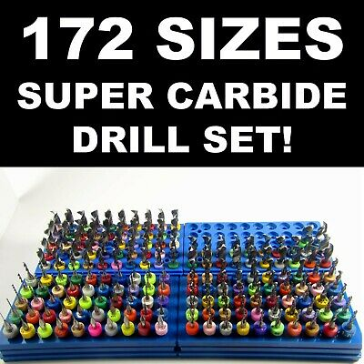 Carbide Drill Bit Set - 172 Sizes!  - pcb cnc solid carbide jewelry model LG R/S