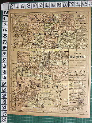 1889 State Map ~ Indian Territory Oklahoma Cherokee ~ New Mexico