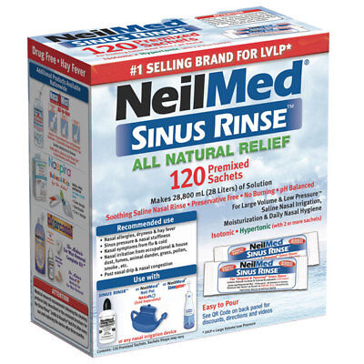 * Neilmed Sinus Rinse All Natural Relief 120 Premixed Sachets Saline Irrigation