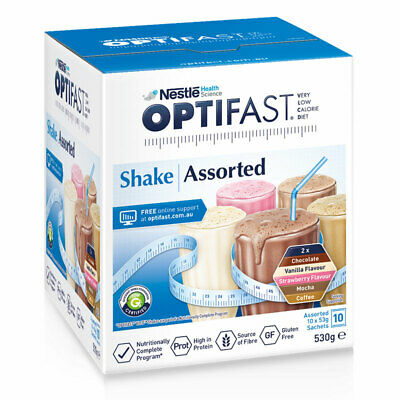 * OPTIFAST VLCD SHAKE ASSORTED SACHETS WEIGHT LOSS 53G x 10 PACK