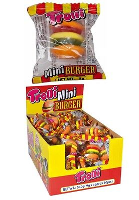 60 x Trolli Mini Burger Individually Wrapped Lollies Bulk Sweets Party Candy