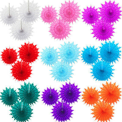 3 X Tissue Paper Fans Hanging Wedding Party Birthday Decoration 10 Colours