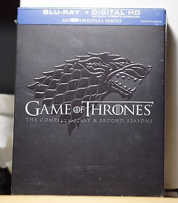 New Game Of Thrones Season 1+2 Box Set On Blu-Ray+Hd Ultraviolet! Factory Sealed