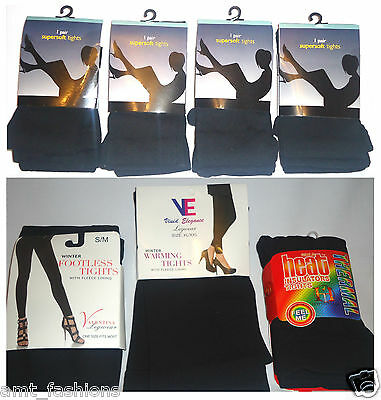 NEW LADIES Tights Super Soft WOMENS BLACK WARM THERMAL TIGHT WINTER COTTON