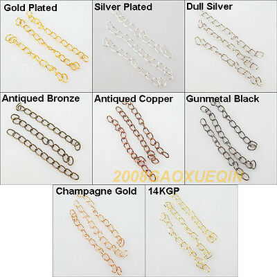 25 New Ring Extend Chains For Craft DIY 5cm Gold Dull Silver Bronze Plated