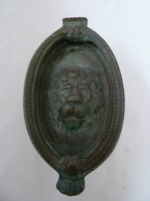 Vintage Antique Brass Lion Head Door Knocker