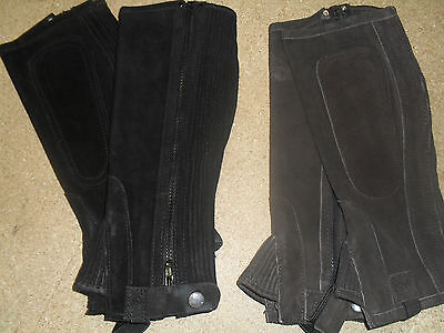 Reduced To Clear!! New Child's Brown Genuine Suede Elasticated 1/2 Chaps - Large