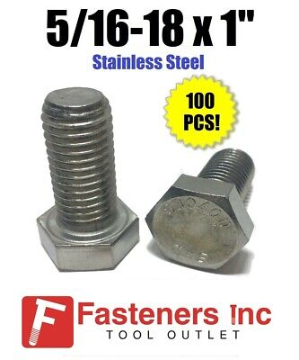 """(Qty 100) 5/16-18 x 1"""" Stainless Steel Hex Cap Screw / Tap Bolt 18-8 / 304"""