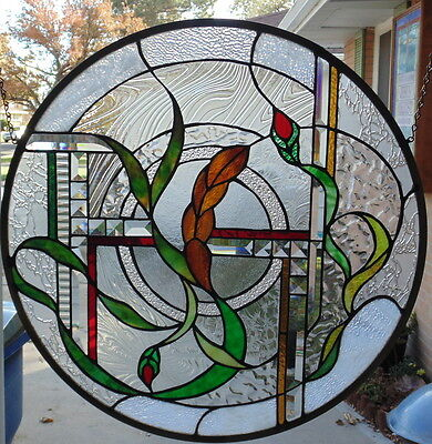 """Stained Glass Window Hanging 23 3/4 In diameter"""""""