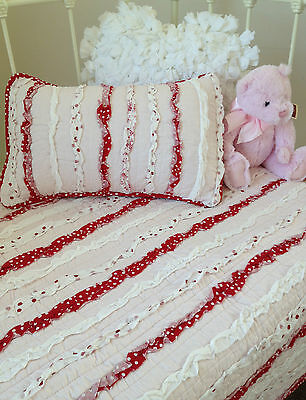 3 pce Baby Girl Laila Vintage Frill Cot Quilt / Pillow Shabby Chic Nursery  Set