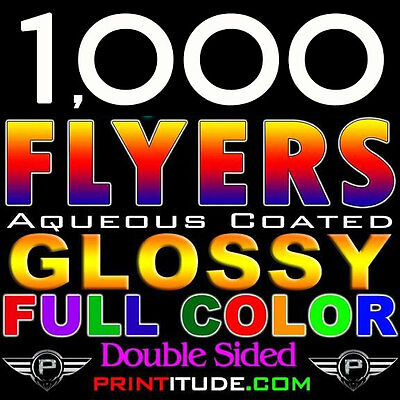 """1000 FLYERS 8.5""""X11"""" FULL COLOR 2 SIDED 100LB Cover GLOSSY AQUEOUS COATED 8.5X11"""