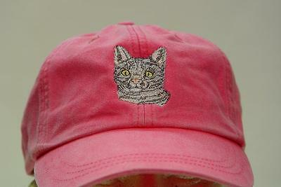bc58a4f122b9e SHORTHAIR TABBY CAT EMBROIDERED HAT WOMEN MEN CAP Price Embroidery Apparel