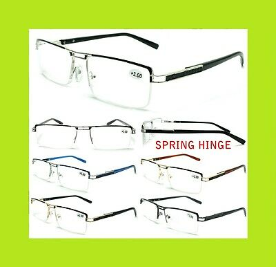 Men's Women's Unisex Metal Frame Semi Rimless Clear Lens Reading Vision Glasses