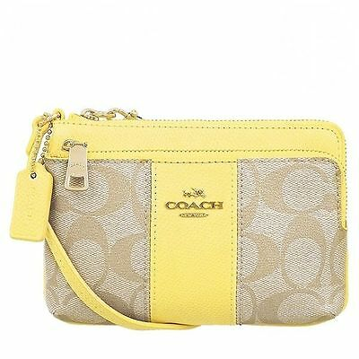 Coach F52853 Double Corner Zip Wristlet In Signature Coated Canvas New With Tag