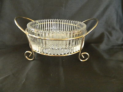 Mikasa Diamond Fire Serving Bowl Silver Metal Stand