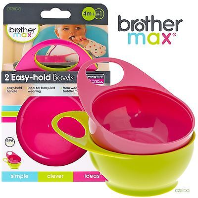 New Brother Max BPA Free Easy Hold Pink Green Toddler Food Dinner Bowl 2 Pack