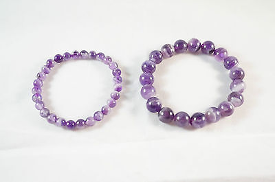 6mm and 10mm Natural Brazil Purple Quartz Bracelet